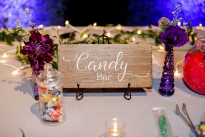 The Candy Bar at this charming barrel room wedding at CIA Greystone