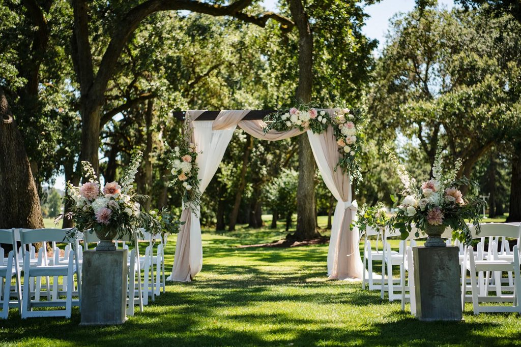 Destination Wedding under the 150 year old oaks at Silverado Country Club by Intimate Weddings Napa Valley